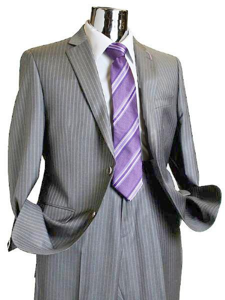 SKU#SQ382 Mens 2 Button 100% Wool Suit Medium Grey $249