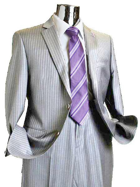 SKU#JF5281 Suit Separate Mens 2 Button 100% Wool Suit Light Grey Pinstripe ~ Stripe Discounted Online Sale Only  $249