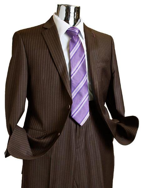 SKU#FS427 Suit Separate Mens 2 Button 100% Wool Suit Dark Brown Pinstripe ~ Stripe Discounted Online Sale Only