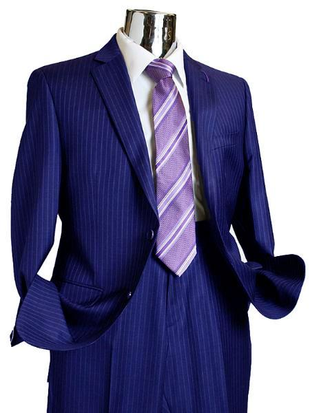 SKU#GQ381 Mens 2 Button 100% Wool Suit Dark Blue $249