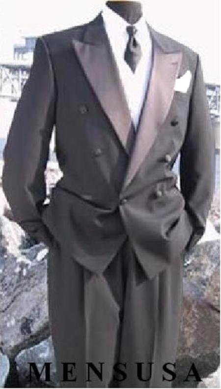 SKU#NF23 Mens Double Breasted Tuxedo Suit(Jacket & Pants) wool fabric in Charcoal Grey Delivery 10 Days $595