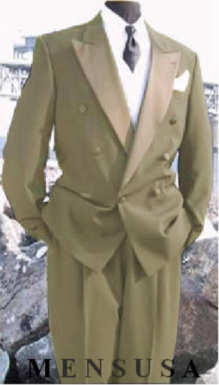 SKU#EK285 Mens Double Breasted Tuxedo Suit (Jacket & Pants) wool fabric in Beige ~ Tan ~ Beige Delivery 10 Days $595