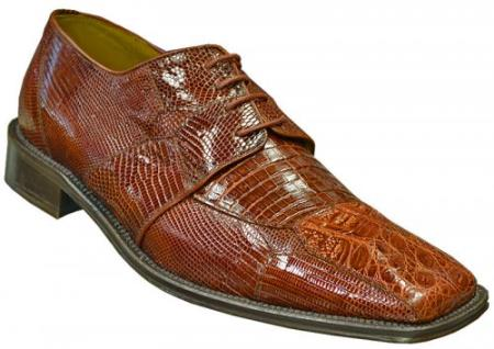 "SKU#GN8399 DAVID-Eden Mens ""Lester"" Cognac Genuine Crocodile / Lizard Shoes $249"