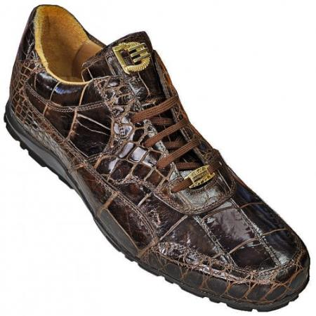 "SKU#CS2916 High Top Exotic Skin Sneakers for Men DAVID-Eden ""Pirate"" Brown Genuine All-Over Alligator Casual Sneakers $399"