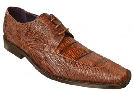 "SKU#GL2784 DAVID-Eden Mens ""Mori"" Cognac Genuine Crocodile / Lizard Shoes $249"