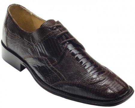 "SKU#CR7292 DAVID-Eden Mens ""Alessandro"" Brown Genuine Ostrich Leg / Lizard Shoes $249"