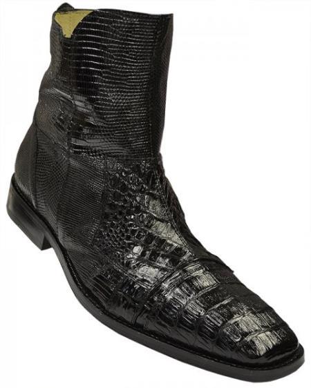 "MensUSA DAVID-Eden Mens ""Boca"" Black Genuine Crocodile / Lizard Dress Boots With Zipper at Sears.com"