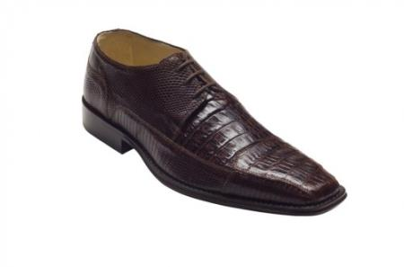 "SKU#DE2815 DAVID-Eden Mens ""Carlino"" Brown Genuine Crocodile / Lizard Shoes $319"