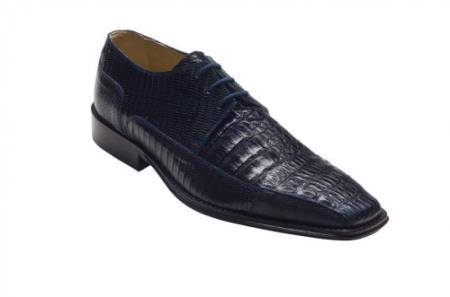"SKU#HK3825 DAVID-Eden Mens ""Carlino"" Navy Genuine Crocodile / Lizard Shoes $319"