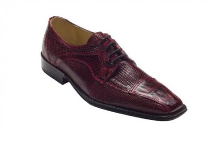 "SKU#FT7392 DAVID-Eden Mens ""Cuomo"" Wine Genuine Crocodile / Lizard Shoes $249"
