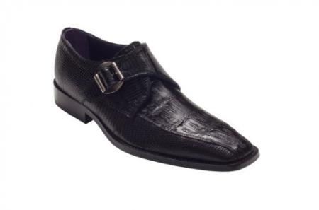 "SKU#GA2716 DAVID-Eden Mens ""Giorgio"" Black Genuine Crocodile / Lizard Shoes $319"