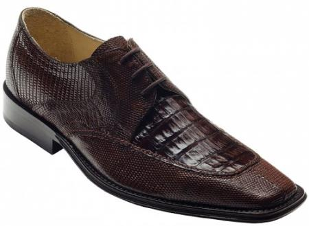 "SKU#FR7834 DAVID-Eden Mens ""Mori"" Brown Genuine Crocodile / Lizard Shoes $249"