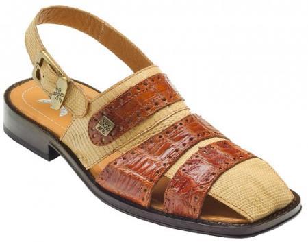 "MensUSA DAVID-Eden Mens ""Sandy"" Cognac / Beige Genuine Crocodile / Lizard Sandals at Sears.com"