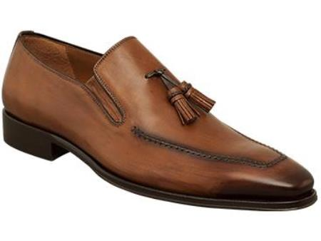 "MensUSA.com Mens ""Davide"" Tan Hand-Burnished Antiqued Italian Calfskin Leather Shoes(Exchange only policy) at Sears.com"