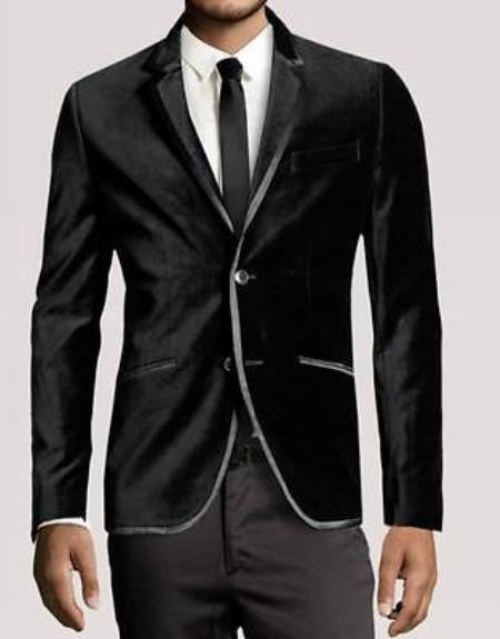 SKU#PR7683 Men New Luxury PartyWear Black Velvet 2 Button Wedding Tuxedo Jacket Coat Blazer $299