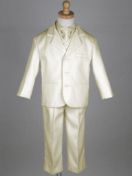 SKU#VQ2893 Boys 5 Piece 3 Button Ivory Suit $115
