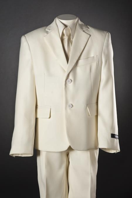 SKU#PX5287 Boys 5 Piece 2 Button Ivory Suit $115
