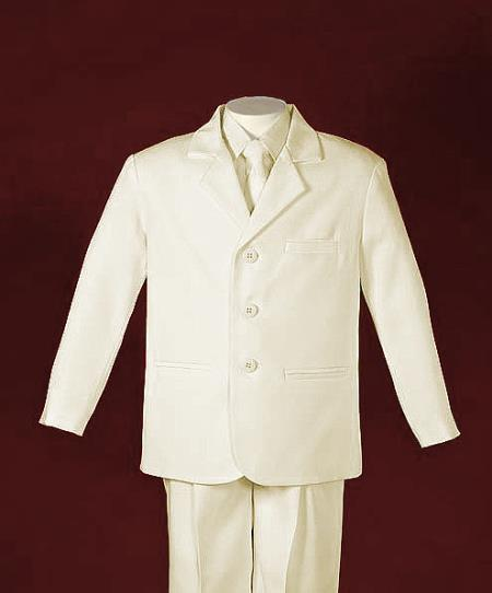 SKU#FR2864 Boys 3 Button Single Breasted Ivory Suit