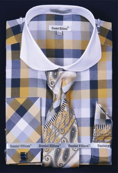 SKU#YP683 Mens French Cuff Dress Shirt Set White Collar Two Toned Contrast Bright Checker Mustard Plaid ~ Windowpane