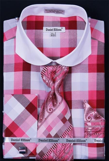 SKU#SR837 Mens French Cuff Dress Shirt Set Bright Checker fuchsia ~ hot Pink Plaid ~ Windowpane
