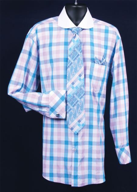 SKU#PA489 Mens French Cuff Dress Shirt Set White Collar Two Toned Contrast Bright Checker turquoise ~ Light Blue Stage Party Full Plaid ~ Windowpane