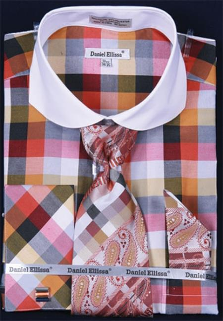 SKU#GY382 Mens French Cuff Dress Shirt Set White Collar Two Toned Contrast Bright Checker Rust Plaid ~ Windowpane