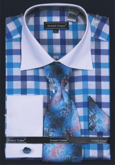 SKU#TK839 Mens French Cuff Dress Shirt Set  Checker Pattern turquoise ~ Light Blue Stage Party $55