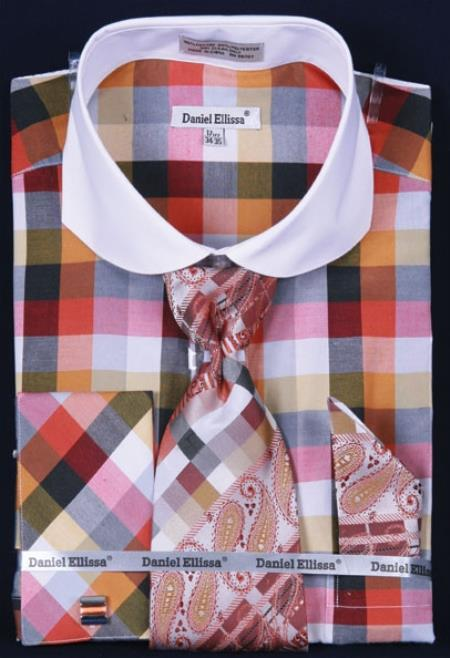 SKU#KT473 Mens French Cuff Dress Shirt Set White Collar Two Toned Contrast Checker Pattern Orange Plaid ~ Windowpane