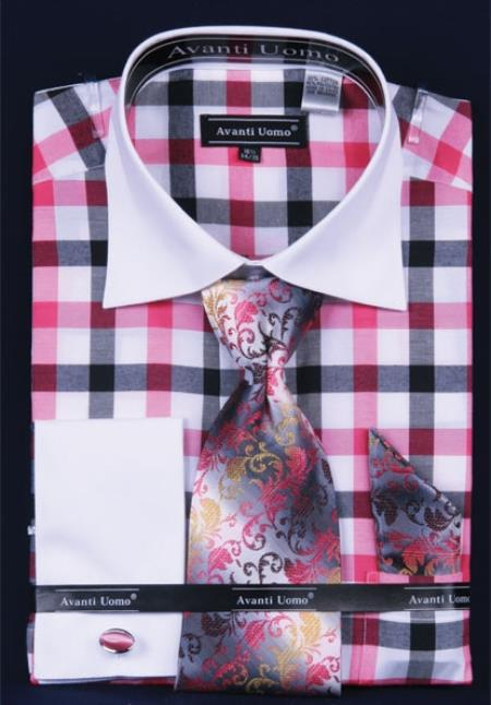 SKU#RE274 Men's French Cuff Dress Shirt Set Checker Pattern fuchsia ~ hot Pink Plaid ~ Windowpane