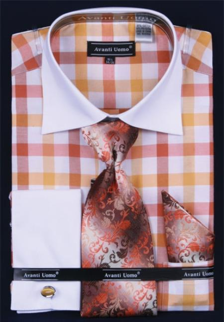 SKU#NG274 Mens French Cuff Dress Shirt Set  Checker Pattern Gold $65