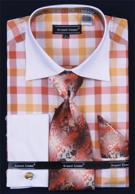SKU#NG274 Mens French Cuff Dress Shirt Set White Collar Two Toned Contrast Checker Pattern Gold Plaid ~ Windowpane