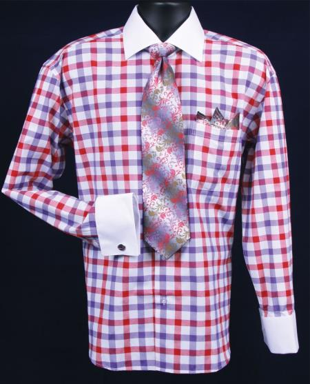 SKU#TR382 Mens French Cuff Dress Shirt Set  Checker Pattern Purple Plaid ~ Windowpane $55