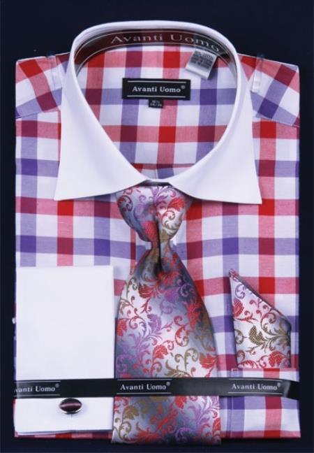 SKU#HN285 Mens French Cuff Dress Shirt Set  Checker Pattern Purple $55