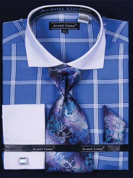 SKU#TJ486 Mens French Cuff Dress Shirt Set White Collar Two Toned Contrast Large Windowpane Blue Plaid ~ Windowpane