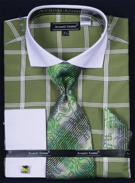 SKU#JP284 Mens French Cuff Dress Shirt Set White Collar Two Toned Contrast Large Windowpane lime mint Plaid ~ Windowpane