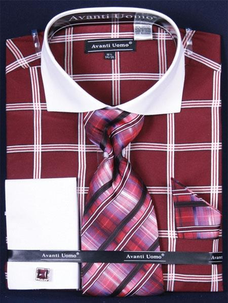 SKU#TS479 Men's French Cuff Dress Shirt Set Large Windowpane Burgundy ~ Maroon ~ Wine Color Plaid ~ Windowpane