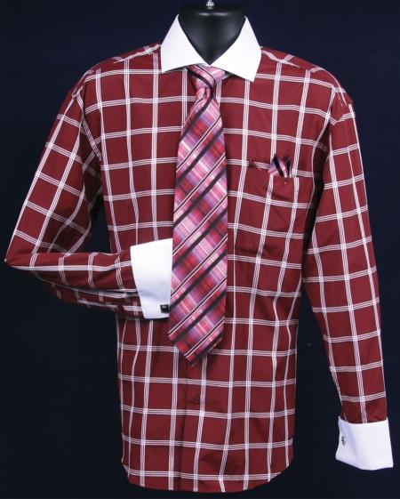 SKU#PK547 Mens French Cuff Dress Shirt Set  Large Windowpane Burgundy ~ Maroon ~ Wine Color Full $65