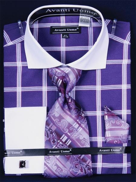 SKU#LR627 Mens French Cuff Dress Shirt Set Large Windowpane Purple Plaid ~ Windowpane