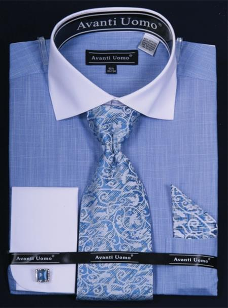 SKU#KP672 Mens French Cuff Dress Shirt Set  Classic Two Tone Blue $65