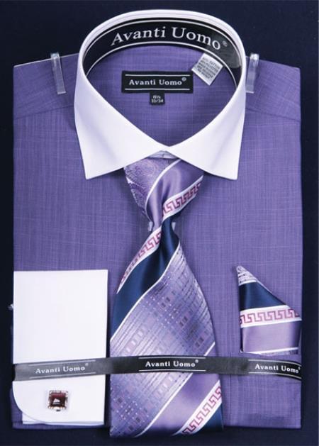 SKU#YG284 Mens French Cuff Dress Shirt Set  Classic Two Tone Purple $65