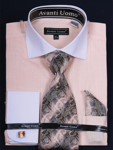 SKUGT492 Mens French Cuff Dress Shirt Set - Classic Two Tone Banana $65