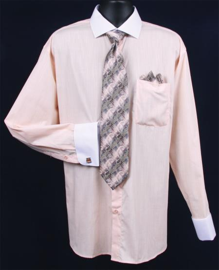 SKU#RP392 Mens French Cuff Dress Shirt Set  Classic Two Tone Banana Full $65