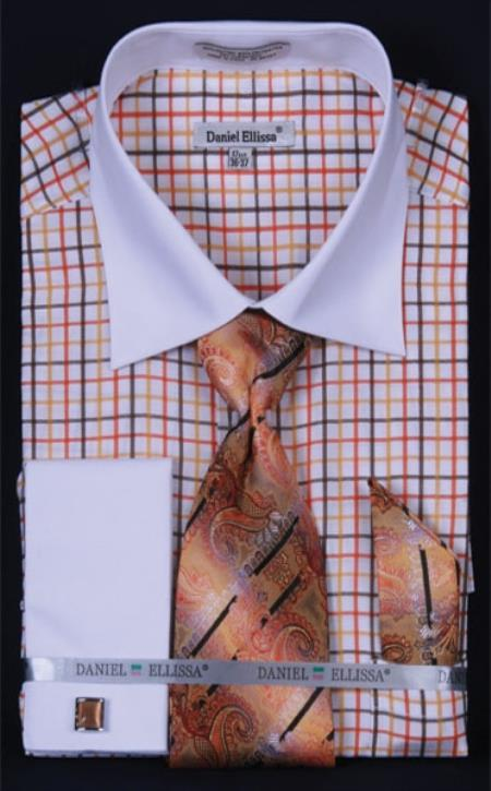 SKU#WT497 Mens French Cuff Dress Shirt Set White Collar Two Toned Contrast Small Checker Orange Plaid ~ Windowpane