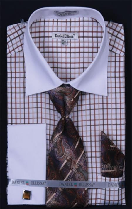 SKU#RT487 Mens French Cuff Dress Shirt Set Small Checker Brown Plaid ~ Windowpane
