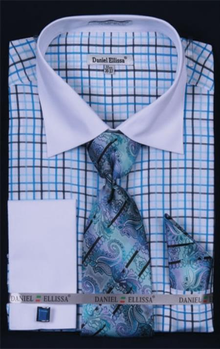 SKU#RT368 Mens French Cuff Dress Shirt Set  Small Checker turquoise ~ Light Blue Stage Party Plaid ~ Windowpane $55