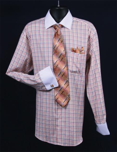 SKU#ET567 Mens French Cuff Dress Shirt Set  Small Checker Orange Full $65
