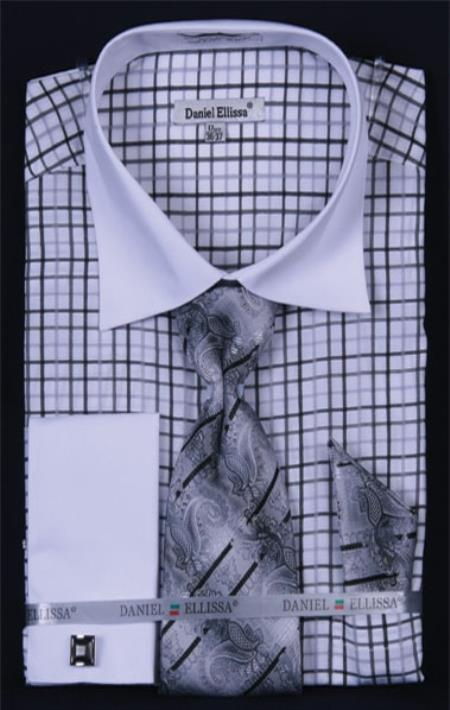SKU#RV274 Mens French Cuff Dress Shirt Set Small Checker Black Plaid ~ Windowpane