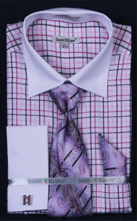 SKU#CP376 Mens French Cuff Dress Shirt Set White Collar Two Toned Contrast Small Checker Lilac Lavender Plaid ~ Windowpane