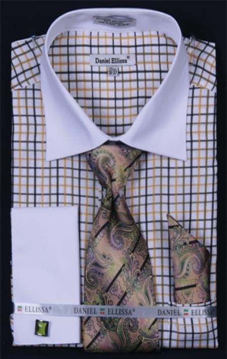 SKU#GT374 Mens French Cuff Dress Shirt Set Small Checker Mustard Plaid ~ Windowpane