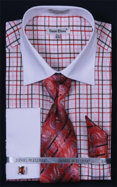SKU#TQ382 Mens French Cuff Dress Shirt Set White Collar Two Toned Contrast Small Checker Red Plaid ~ Windowpane